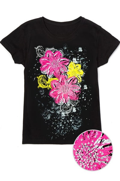 Girl's Graphic Tee w /Pink and Yellow Lilies