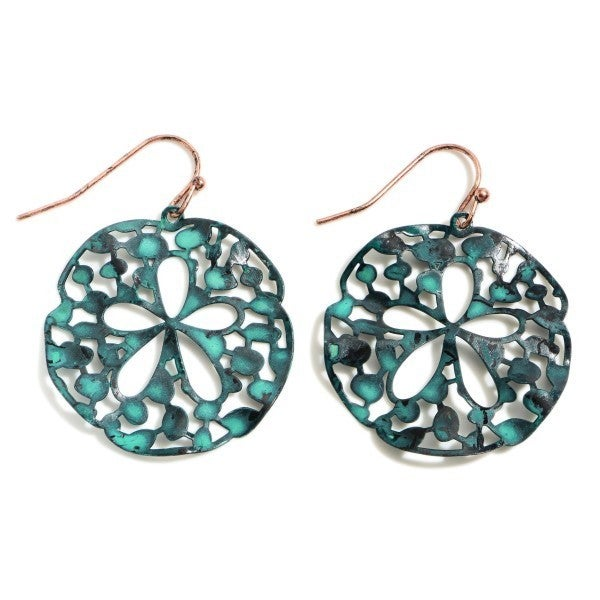 Patina Circular Filigree Drop Earrings