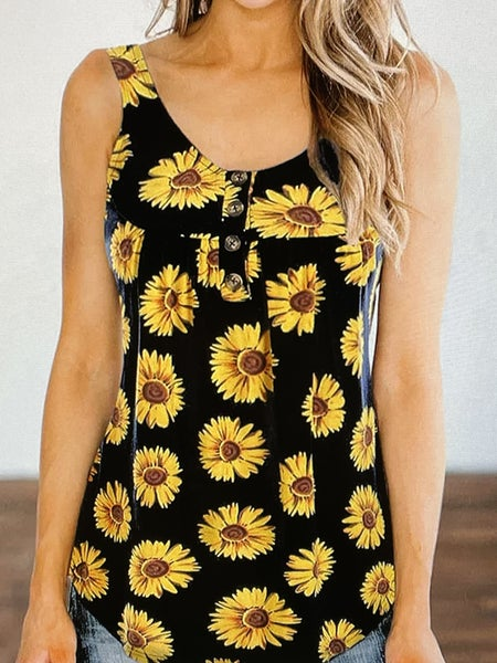 Sunflower Printed Loose Vest Tank Top