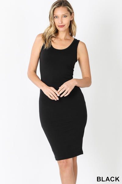 PREMIUM COTTON SLEEVELESS MIDI DRESS