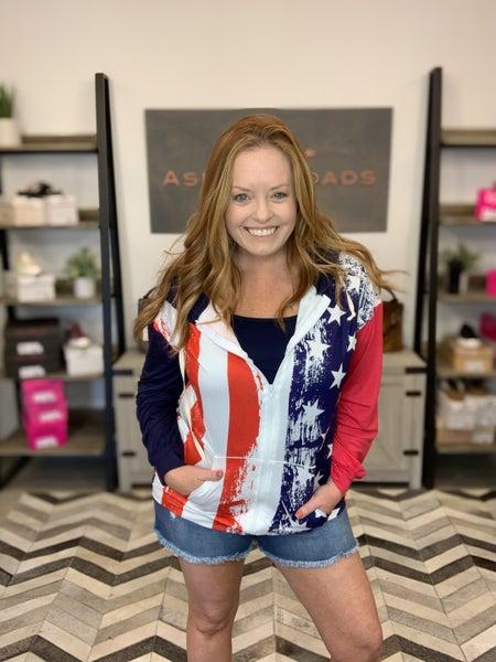 BLUMIN AMERICAN FLAG PRINTED HOODIE JACKET