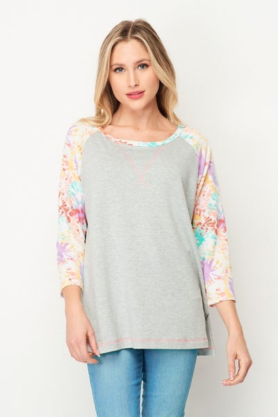 HONEYME 3 QUARTER SLEEVE ROUND NECK TOP