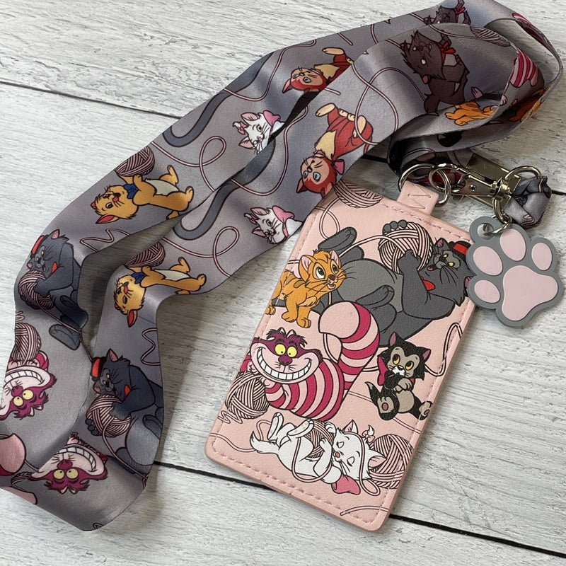 LOUNGEFLY DISNEY KITTIES LANYARD WITH CARDHOLDER