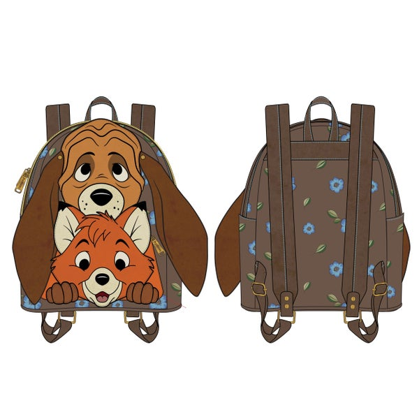 LOUNGEFLY DISNEY FOX AND HOUND COSPLAY FAUX LEATHER MINI BACKPACK