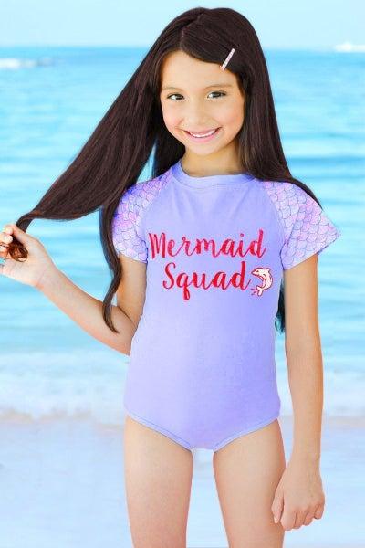 "Girl's One Piece Short Sleeve Rashguard Swimsuit w/ Glitter ""Mermaid Squad"""