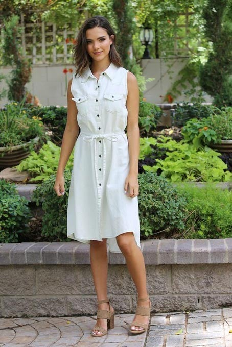 SLEEVELESS DENIM DRESS WITH BUTTON FRONT