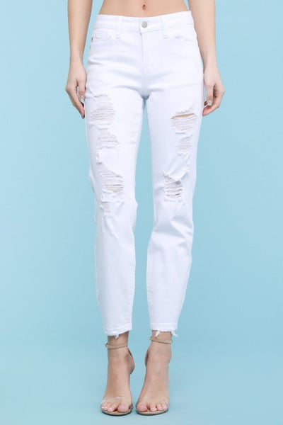 JUDY BLUE WHITE DESTROYED BOYFRIEND JEANS DENIM