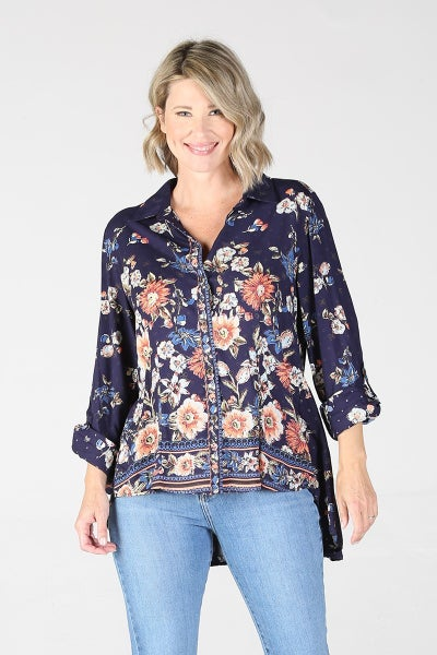 LONG SLEEVE BUTTON FRONT TOP WITH PEPLUM BACK