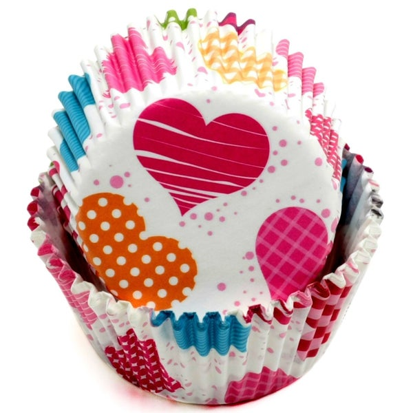 VALENTINE BRIGHT HEARTS BAKING CUPS - 50 COUNT