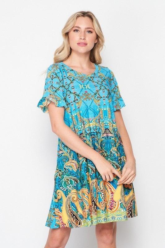 Blooming Circular Geo Swing Dress Ruffle Sleeves