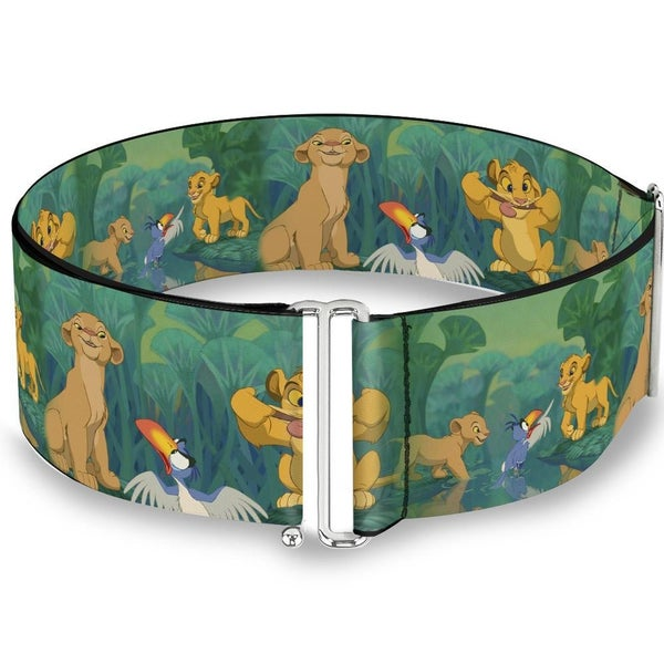 BUCKLE DOWN CINCH WAIST BELT - THE LION KING SIMBA NALA ZAZU POSES LEAVES GREENS