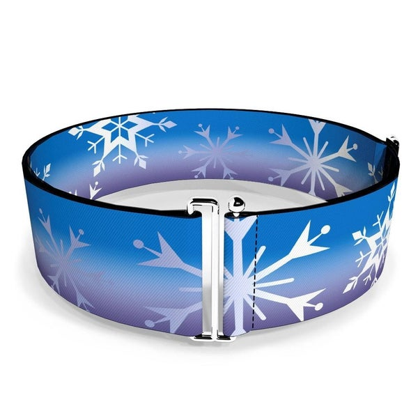 BUCKLE DOWN CINCH WAIST BELT - FROZEN II SNOWFLAKES BLUES PURPLES WHITE