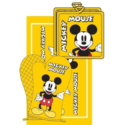 DISNEY 3pc Kitchen Towel Set Mickey Mouse, Yellow