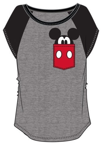 DISNEY Junior Fashion Contrast Shoulder Top Mickey Pocket, Gray with Black