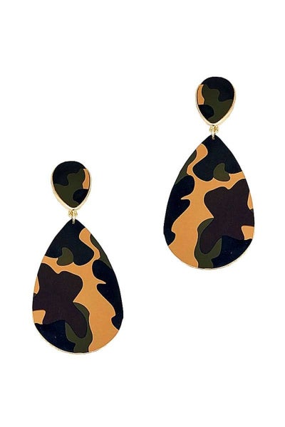 STYLISH CAMO PATTERN TEAR DROP EARRING