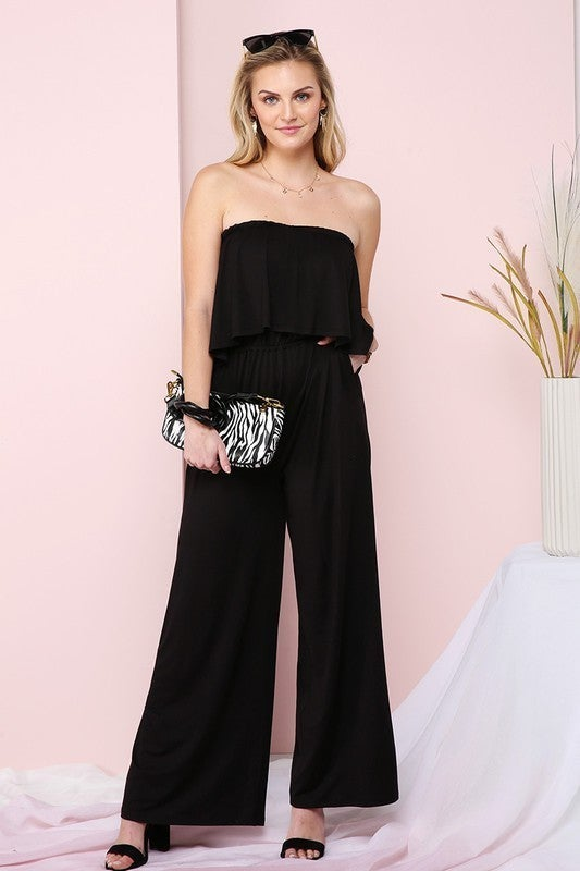 FLARE TUBE TOP WITH TWO FER LOOK JUMPSUIT