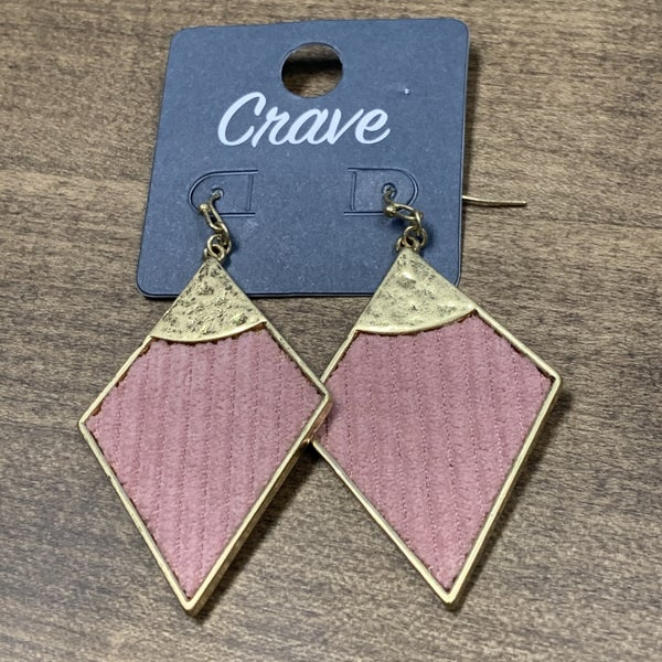 MAUVE & GOLD DIAMOND SHAPE EARRINGS