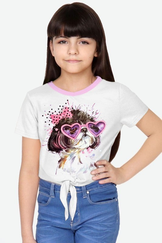 Girl's  V-Neck Tee w/Front Tie w/ Puppy Wears Heart Glasses