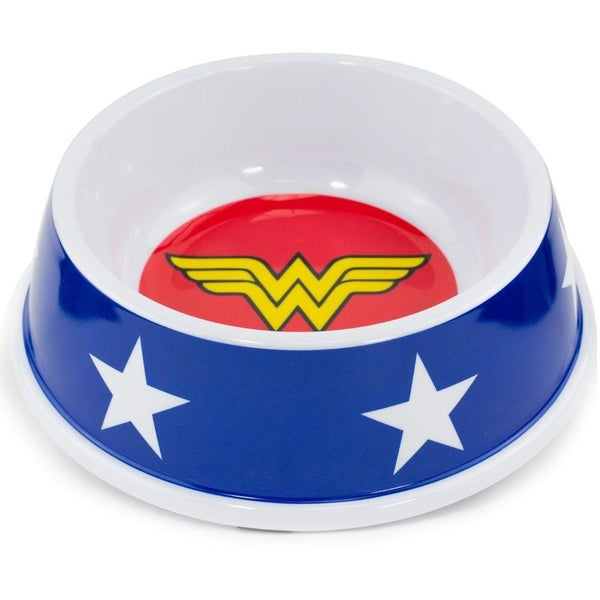BUCKLE DOWN PET BOWL - WONDER WOMAN ICON + STARS