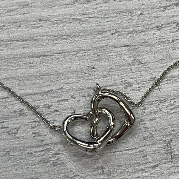 DOUBLE HEART SILVER NECKLACE