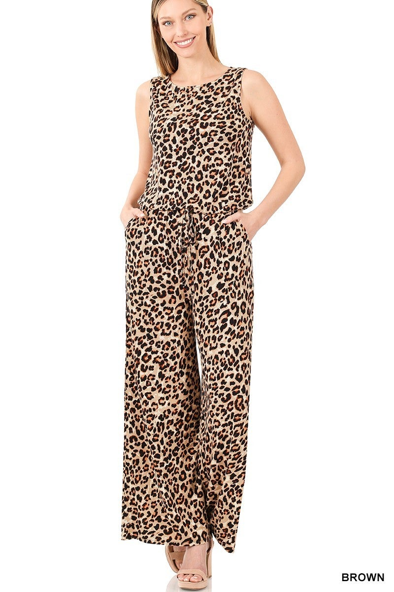 ZENANA LEOPARD SLEEVELESS JUMPSUIT WITH POCKETS