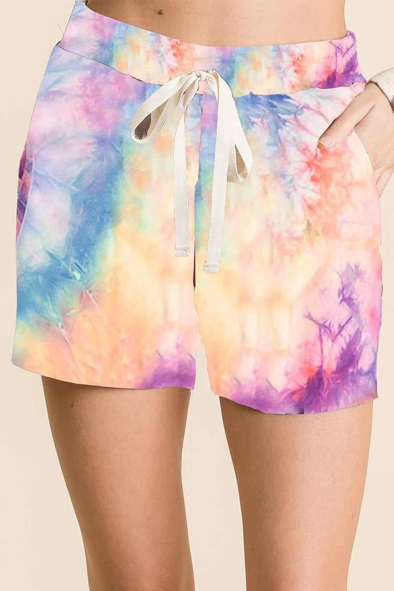 TIE DYE CASUAL SHORTS WITH TWILL TAPE DRAWSTRING