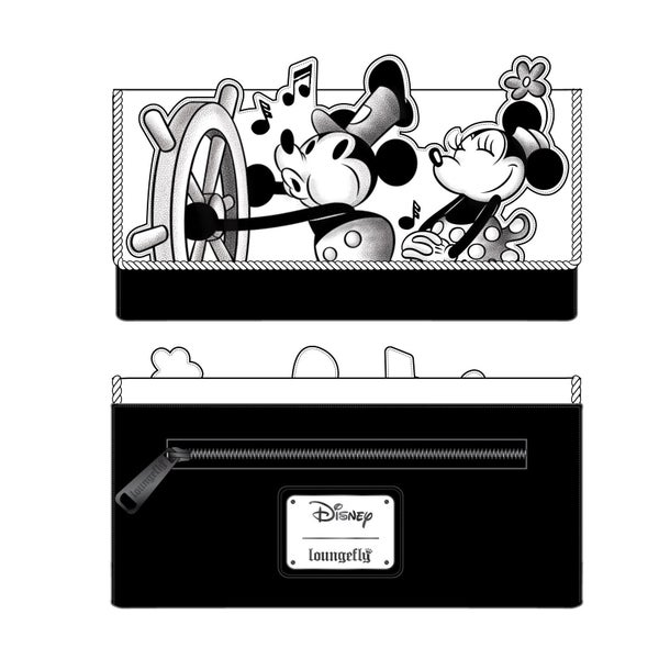 LOUNGEFLY DISNEY STEAMBOAT WILLIE MUSIC CRUISE FLAP WALLET (PRE-ORDER, JUNE 2021)
