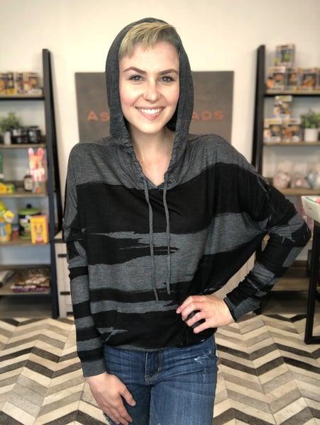 Grunge Paint stripe dolman hoodie long sleeve top