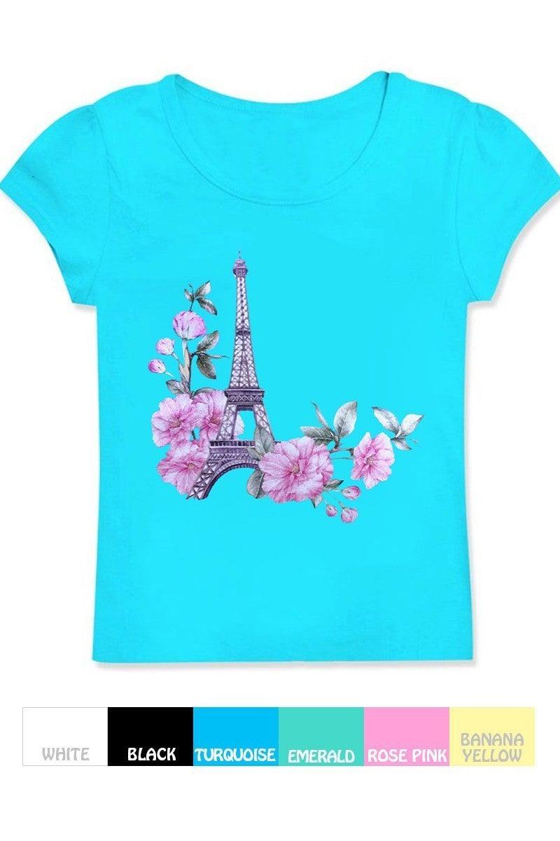 Girl's Graphic Tee w/ Eiffel Tower Flower Print