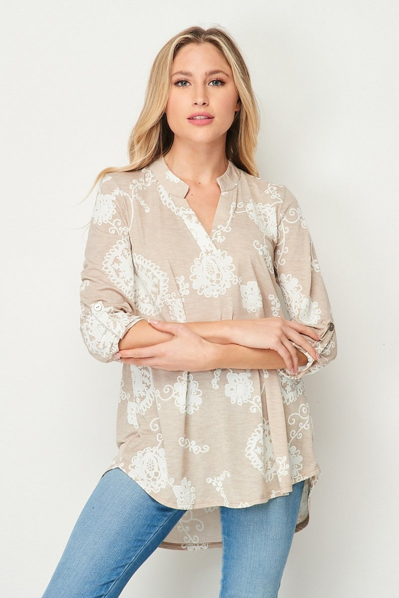 HONEYME SOLID GABBY TOP W/ PAISLEY FLORAL DESIGN