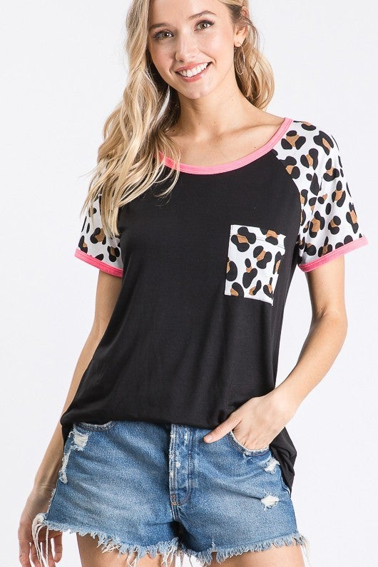 HEIMISH SHORT SLEEVE ROUND NECK SOLID AND ANIMAL PRINT TOP