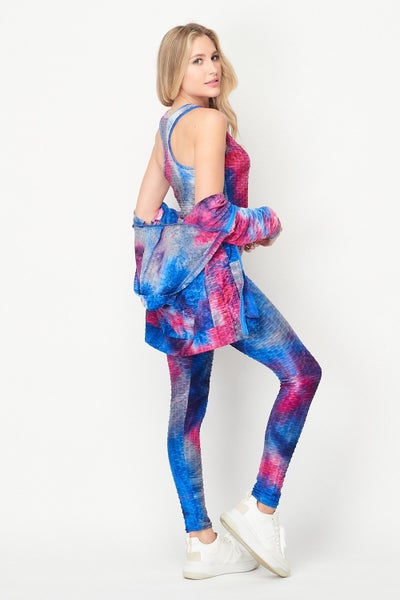 3PCS Tie Dye Zip Up Hoodie / Leggings Set