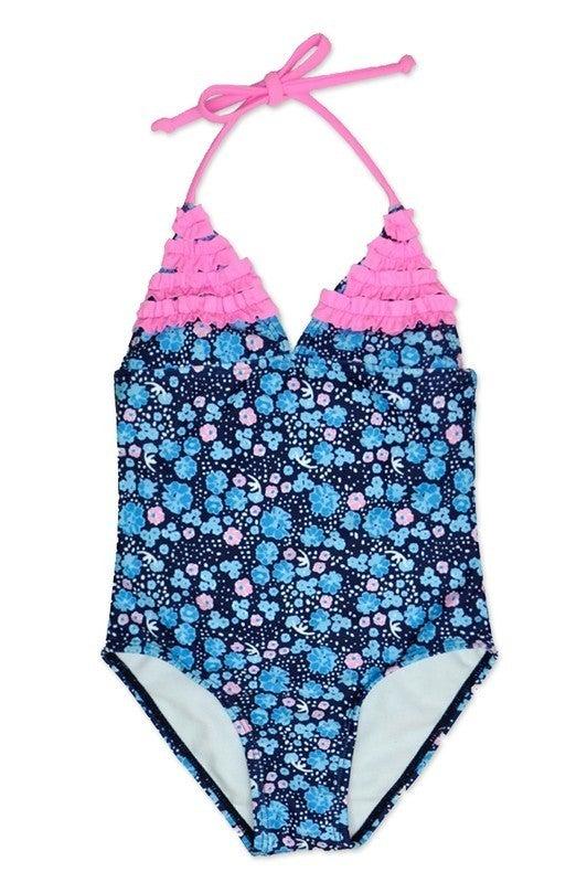 Girl's  One Piece Swimwear w/  Ruffle and Halter