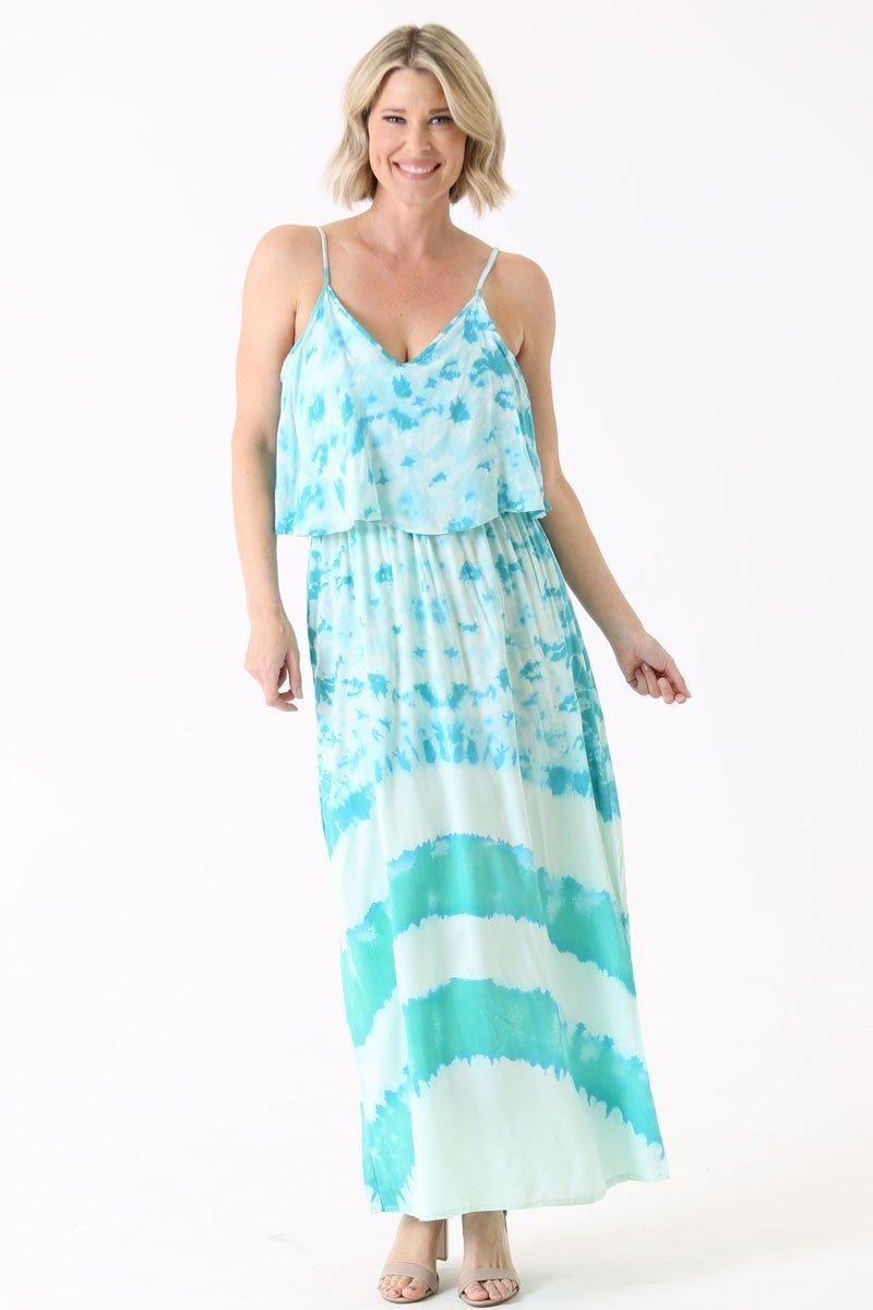LONG TIE DYE SPAGHETTI STRAP DRESS