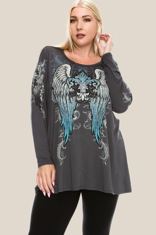VOCAL LONG SLEEVE TOP W/ PRINT & STONE DETAIL