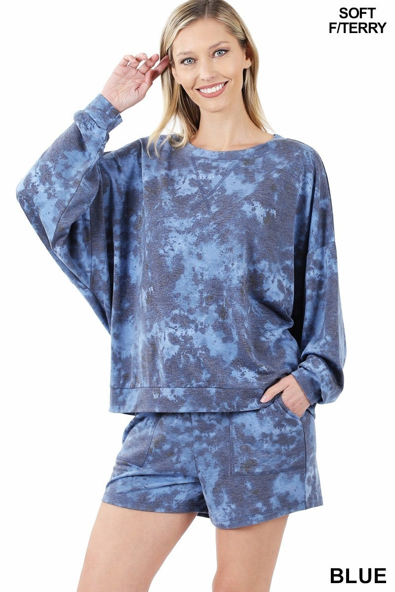 FRENCH TERRY TIE DYE OVERSIZED TOP & SHORTS SET