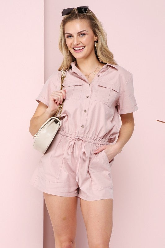 NINEXIS ROLL OVER HALF SLEEVE WITH BUTTON DOWN ROMPER