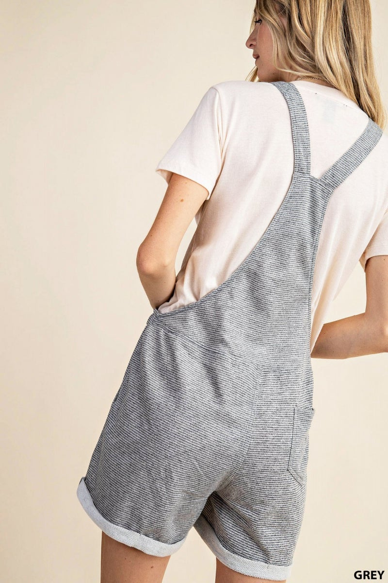 THIN STRIPE TERRY OVERALLS WITH POCKETS AND WAIST STRAP