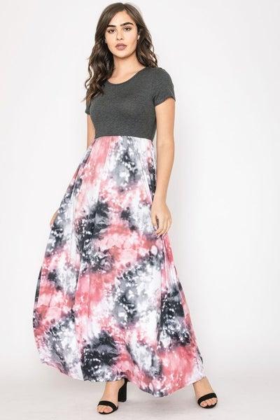 Two Tone Tie Dye Maxi Dress