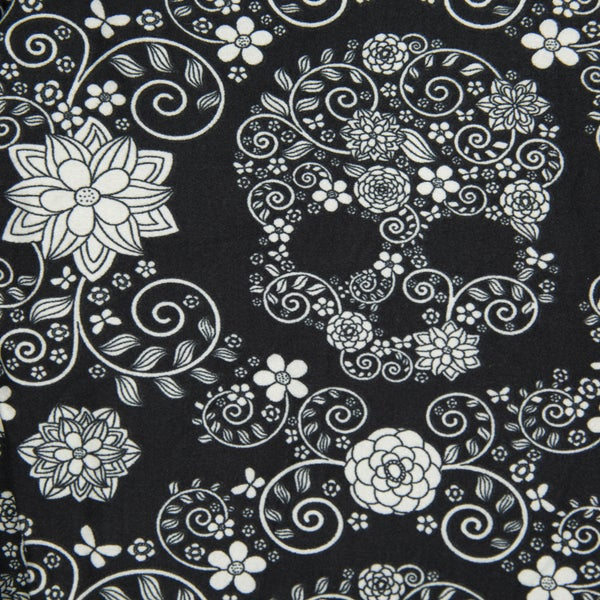 BLACK & WHITE FLORAL SKULL LEGGINGS