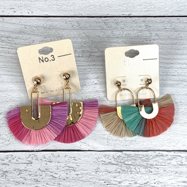 TRIPLE COLORED RAFFIA FAN TASSEL DROP EARRING