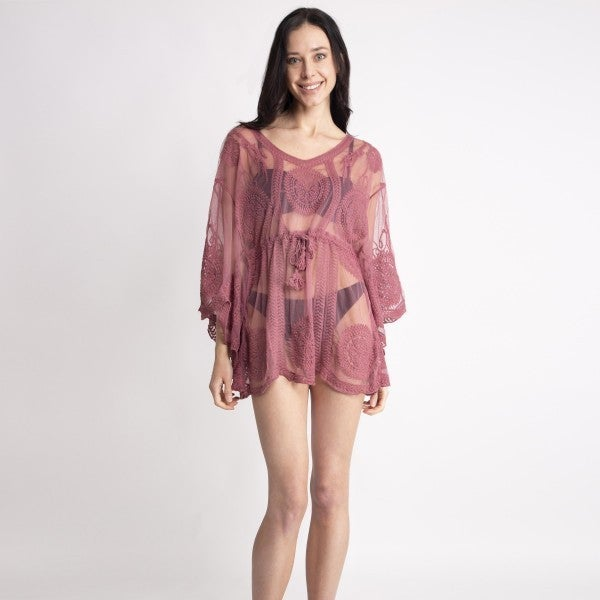 Sheer Lace Top Featuring Draw String Front Tie Around Waist