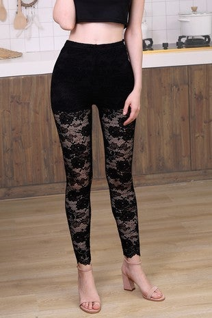 Floral lace leggings with shorts lining