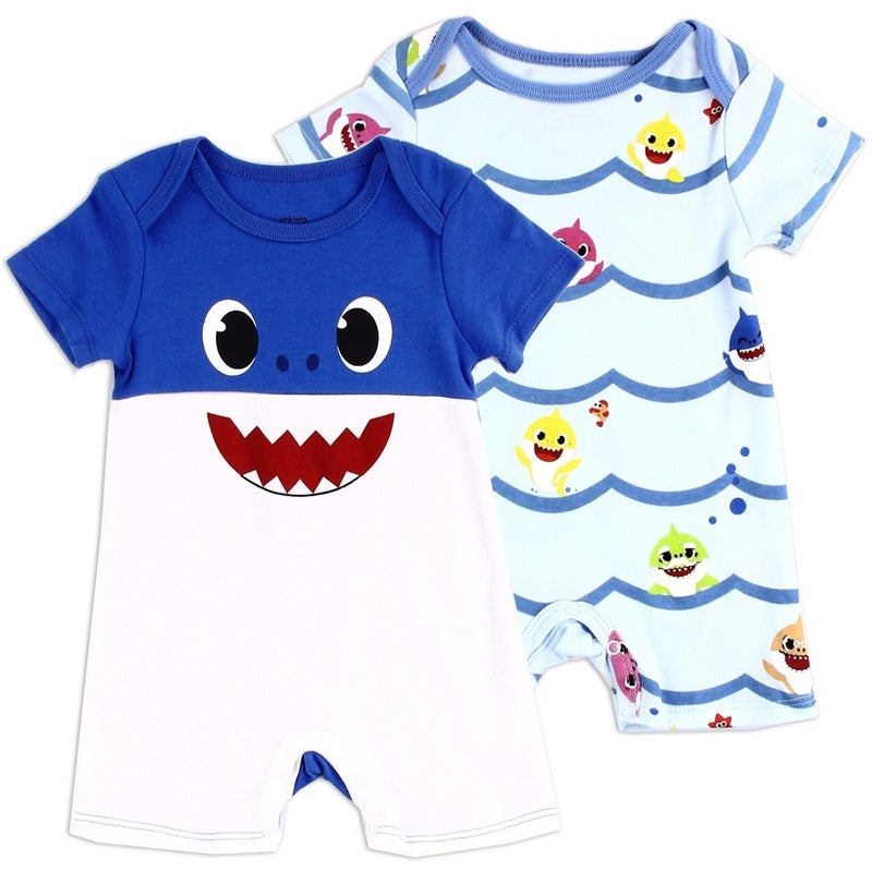 BABY SHARK Boys Newborn 2-Pack Rompers