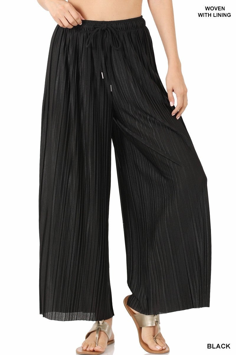 ZENANA WOVEN PLEATED WIDE LEG PANTS WITH LINING