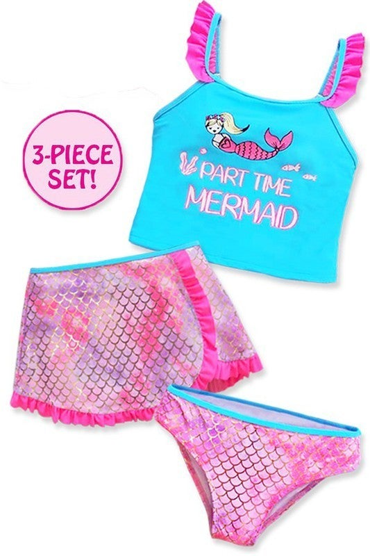 Girl's three pieces tankini swimwear set w/ skirt & mermaid scale print