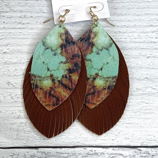 BROWN & TURQUOISE MARBLE DROP EARRINGS