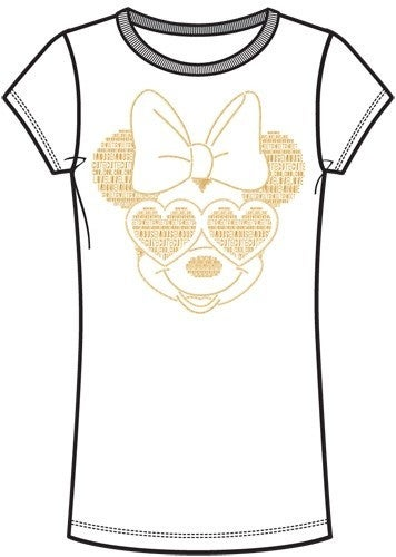 DISNEY Adult Womens Fashion Tee Minnie Words with Glasses, White
