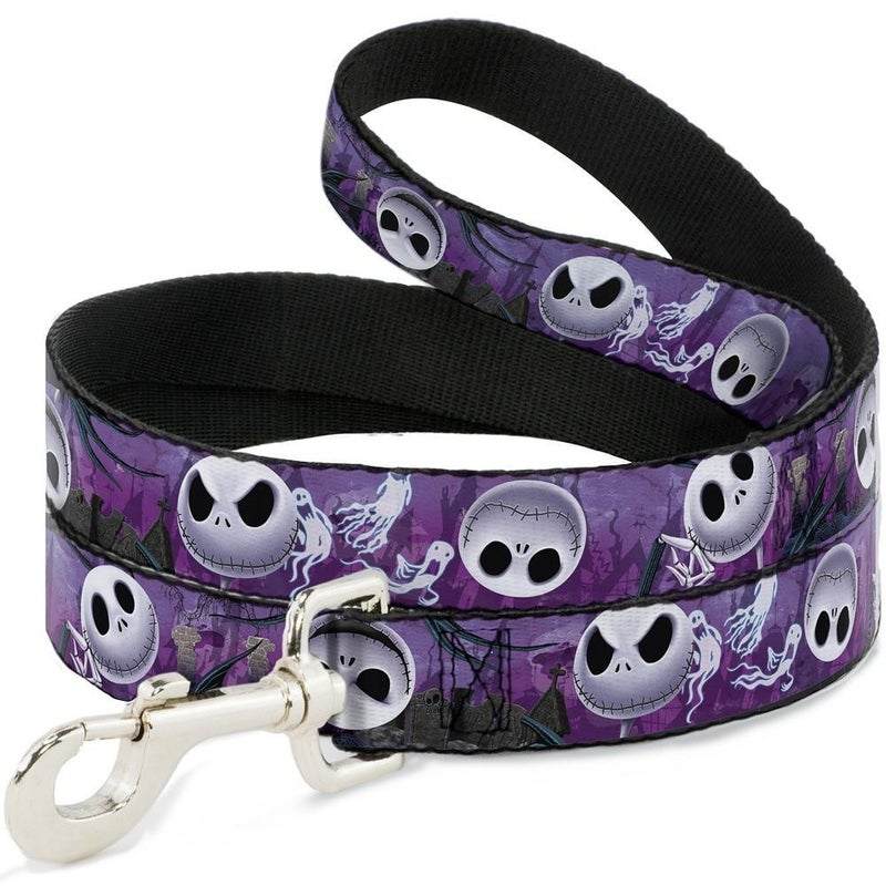 BUCKLE DOWN DOG LEASH - JACK EXPRESSIONS/GHOSTS IN CEMETERY PURPLES/GRAYS/WHITE