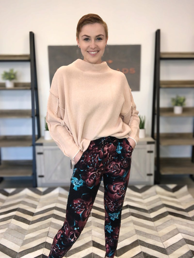 ROSE PRINT BUTTERY SOFT JOGGERS